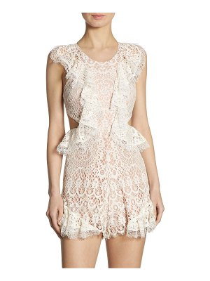 ALEXIS BARBARA Bar Lace Ruffle Side Cutout Romper