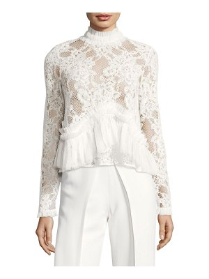 ALEXIS BARBARA Karenza Lace Ruched Ruffle Top
