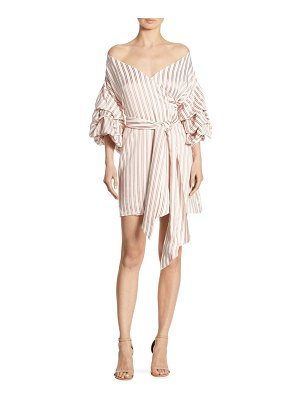 ALEXIS BARBARA Maren Striped Off-The-Shoulder Wrap Dress