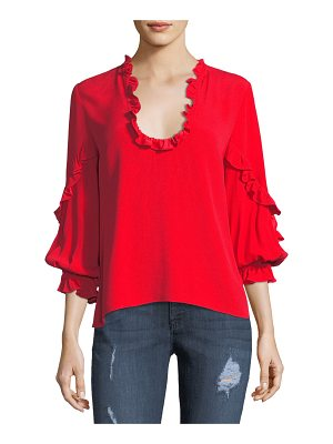 Alexis Brannon Scoop-Neck Long-Sleeve Top with Ruffled Frills