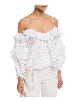 Alexis Damini Cold-Shoulder Top Embroidered Top