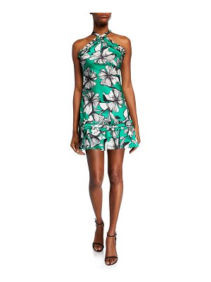 Alexis Erika Floral-Print Mini Halter Dress