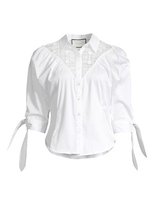 Alexis garland sheer yoke blouse