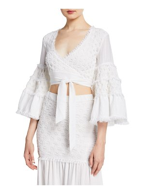Alexis Godiva Cropped Bell-Sleeve Tie Top