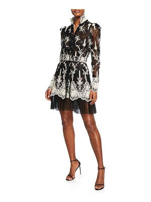 Alexis Hilaria High-Neck Lace Long-Sleeve Dress