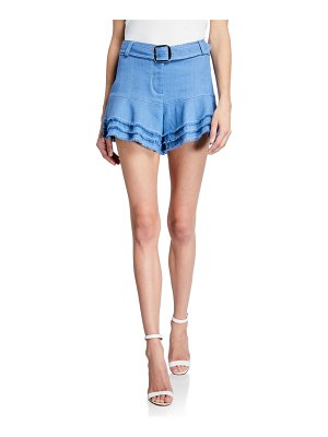 Alexis Jaymes Belted Linen Tiered Shorts