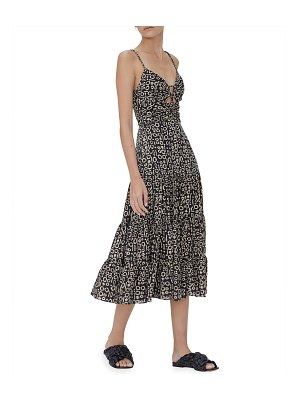 Alexis Jenay Abstract Printed Cutout Tiered Dress