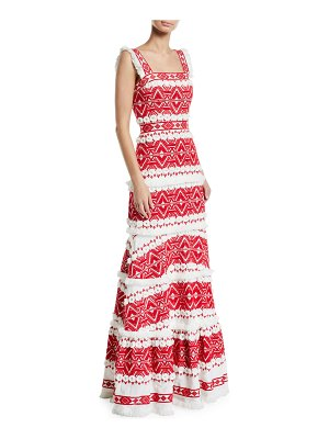 Alexis Leonora Embroidered Sleeveless Long Dress