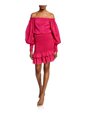 Alexis Marilena Smocked Off-Shoulder Blouson-Sleeve Dress
