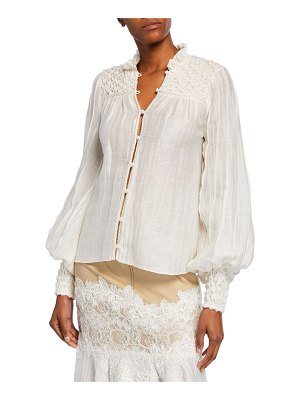 Alexis Minelli Smocked Button-Front Top