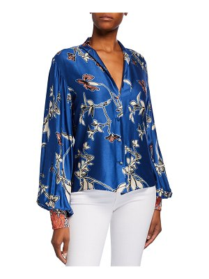 Alexis Paoli Printed Button-Front Satin Top
