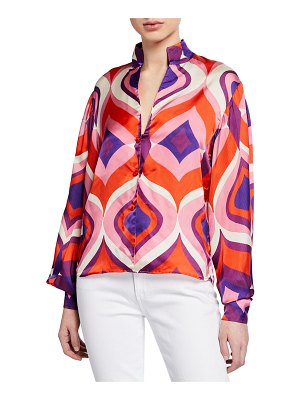 Alexis Roselle Geometric Bishop-Sleeve Button-Front Top w/ Mandarin Collar