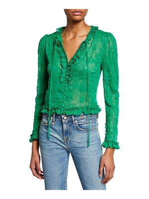 Alexis Saxon Embroidered Button-Front Long-Sleeve Crop Top w/ Ruffle Trim