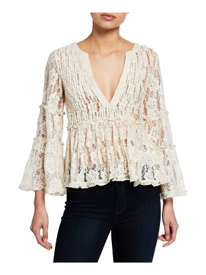 Alexis Tanisa V-Neck Floral-Lace Peplum Top