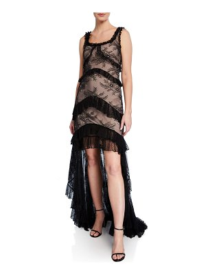 Alexis Timotha Lace High-Low Ruffle Gown