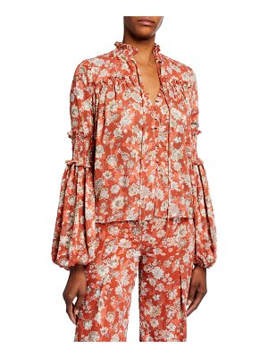 Alexis Zaria Floral Button-Front Long-Sleeve Top