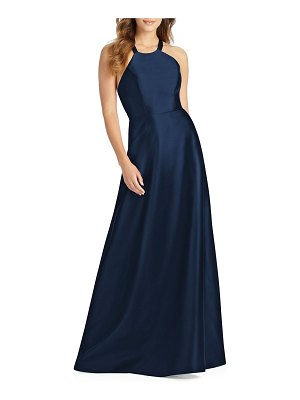 Alfred Sung Halter Gown with Lace-Up Back