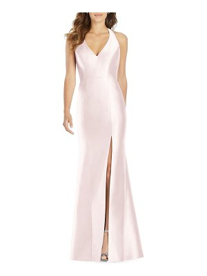 Alfred Sung Halter Gown with Thigh-Slit