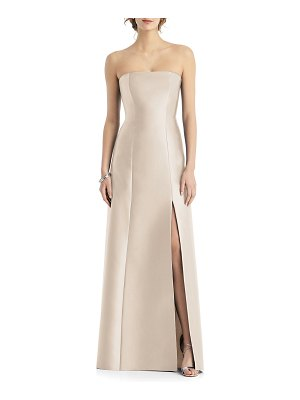 Alfred Sung Strapless Sateen Twill Gown with Slit