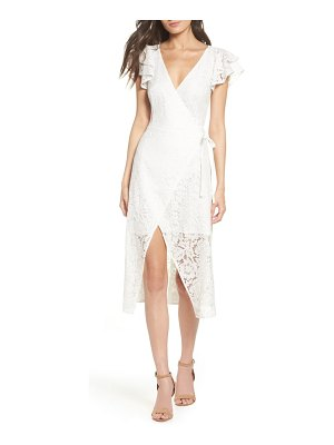 Ali & Jay lace and paper flowers wrap midi dress