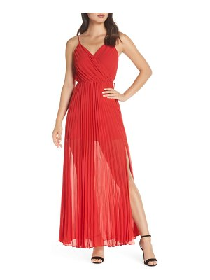 Ali & Jay roses are red pleated maxi dress