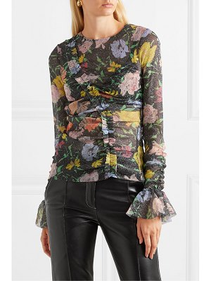 Alice McCall cosmic ruched metallic floral-print mesh top