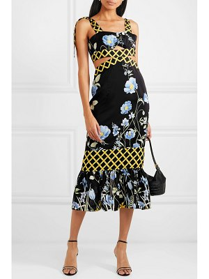 Alice McCall flower girl cutout floral-print crepe de chine midi dress