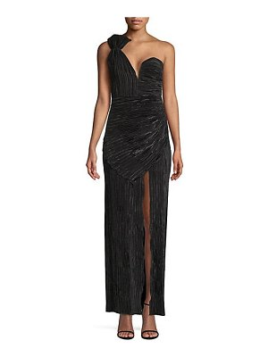 Alice McCall woman to woman one-shoulder sweetheart plisse side slit column gown