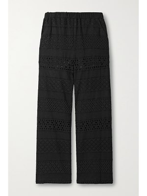 Alice + Olivia adele broderie anglaise voile straight-leg pants