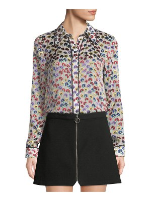 Alice + Olivia Alfie Button-Front Floral Long-Sleeve Top