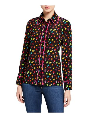 Alice + Olivia Alfie Collared Button-Down Top