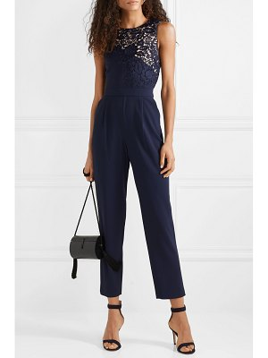 984b27b0c44c self-portrait Cropped Ruffled Guipure Lace And Crepe Jumpsuit in ...