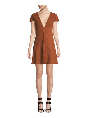 Alice + Olivia Amara Suede Babydoll Mini Dress