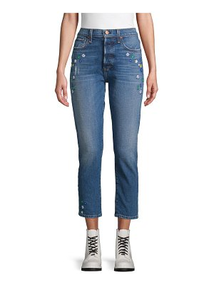Alice + Olivia Amazing Embroidered High Rise Cropped Jeans