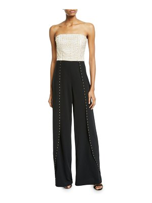 Alice + Olivia Angelica Studded Open-Pleat Bustier Jumpsuit