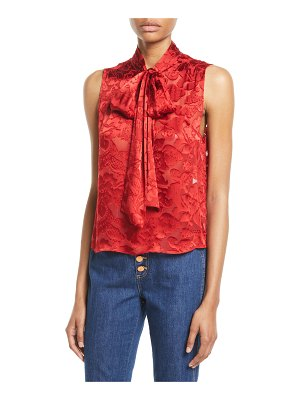 Alice + Olivia Arie Sleeveless Tie-Neck Blouse