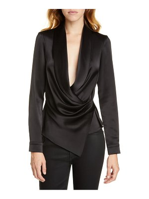 Alice + Olivia aurora draped satin top