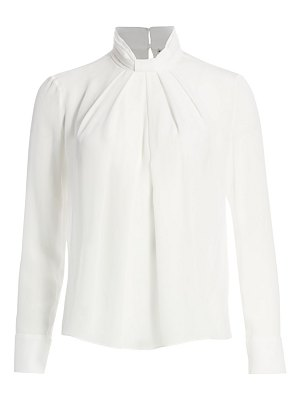 Alice + Olivia boe stand-collar silk shirt