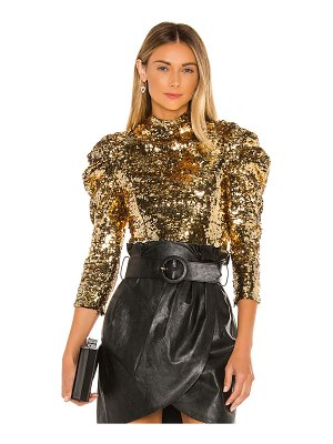 Alice + Olivia brenna sequin puff sleeve top