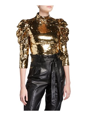 Alice + Olivia Brenna Sequined Fitted Puff-Sleeve Top