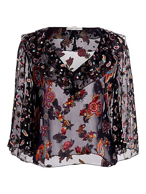 Alice + Olivia cabella floral sheer-silk ruffle-front bell-sleeve blouse