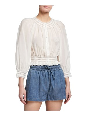 Alice + Olivia Cherelle Button-Down Gathered Crop Blouse