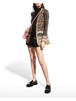 Alice + Olivia Chriselle Clean Embroidered Long Blazer