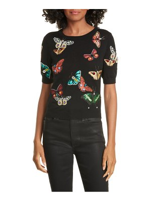 Alice + Olivia ciara butterfly crop sweater