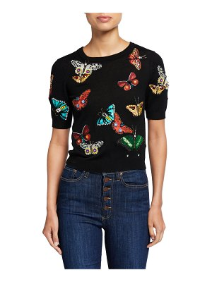 Alice + Olivia Ciara Butterfly-Embellished Short-Sleeve Sweater