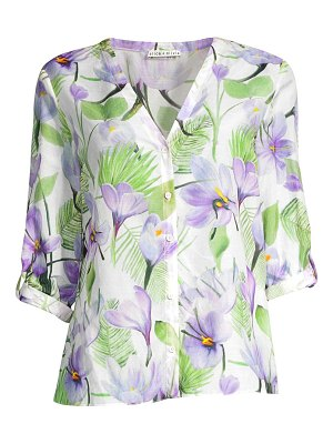Alice + Olivia colby rolled sleeve floral blouse