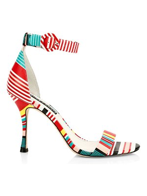 Alice + Olivia danelle striped leather ankle-strap sandals