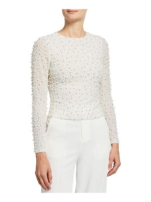 Alice + Olivia Delaina Pearly Long-Sleeve Crop Top