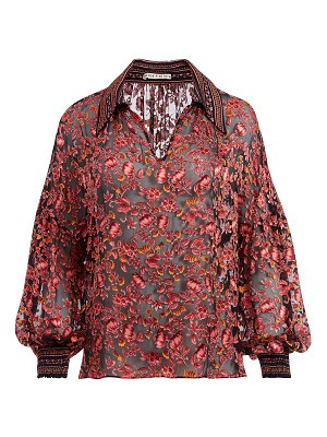 Alice + Olivia Desiree Collared Blouse with Smocked Cuffs