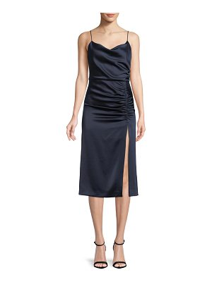 Alice + Olivia Dion Ruched Midi Slip Dress with Slit
